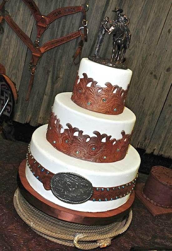 Western Wedding Cakes  Tooled Leather Western Wedding Cake