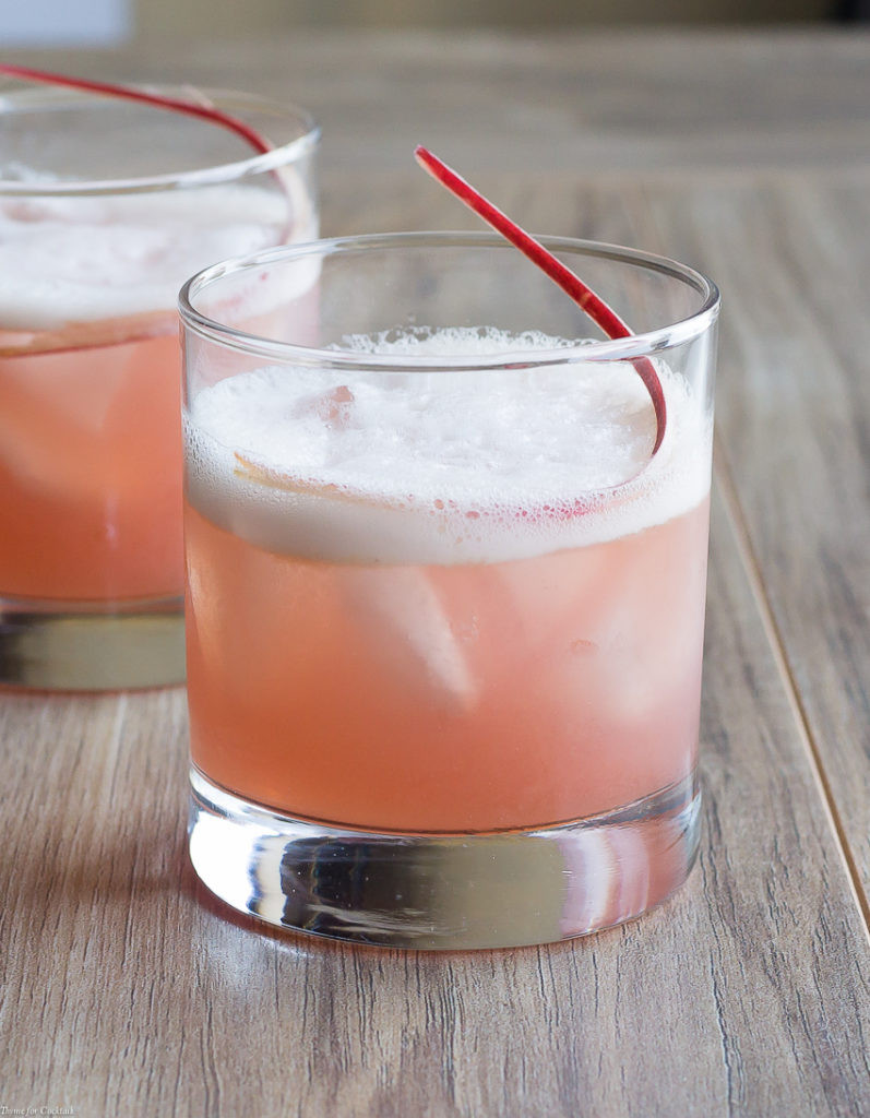 Whiskey Summer Drinks  Seasonal Rhubarb Whiskey Sour Cocktail Recipe SoFabFood