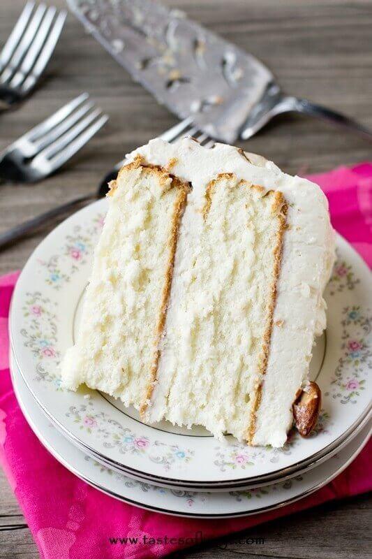 White Almond Wedding Cake Recipe From Scratch  Almond Cream Cake Velvety From Scratch Cake w Whipped