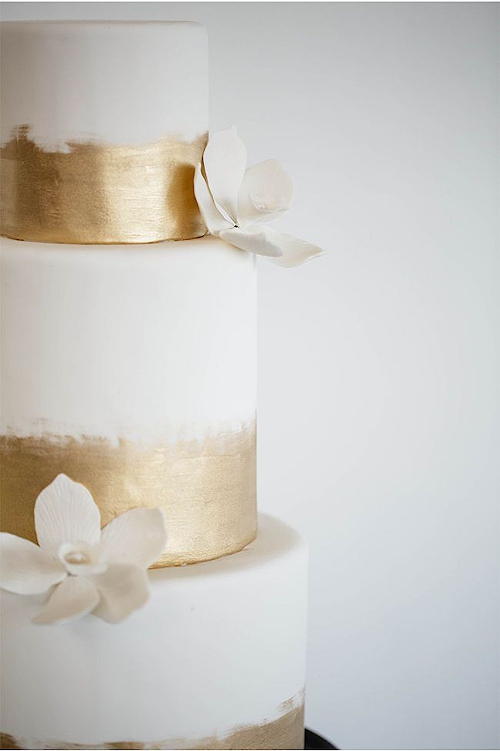 White And Gold Wedding Cake  12 hand painted wedding cakes Calder Clark