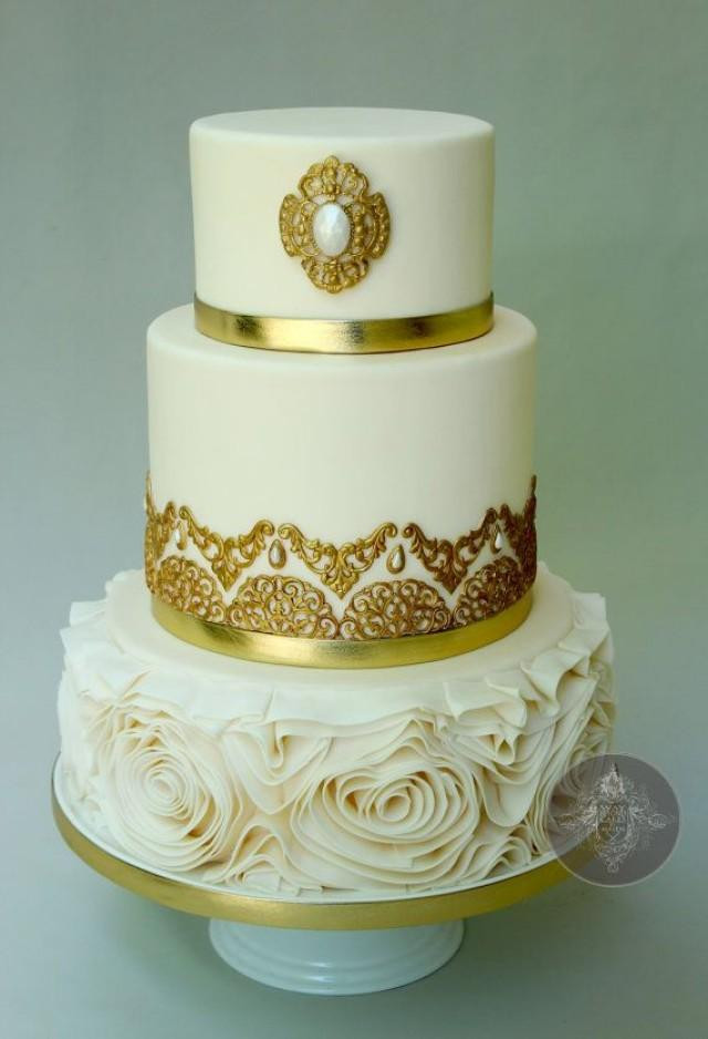 White And Gold Wedding Cake  Gold Wedding White & Gold Wedding Cakes Weddbook