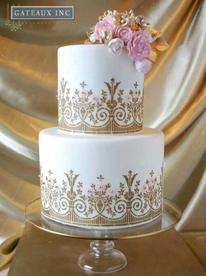 White And Gold Wedding Cake  White And Gold White And Gold Cakes