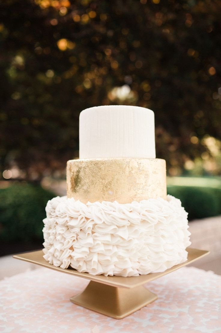 White And Gold Wedding Cake  Wedding Cake Tips of Tiers