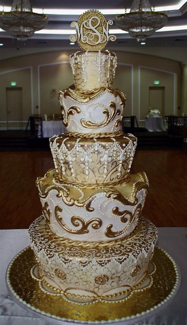 White And Gold Wedding Cake  Ivory Wedding Gold Cake Weddbook