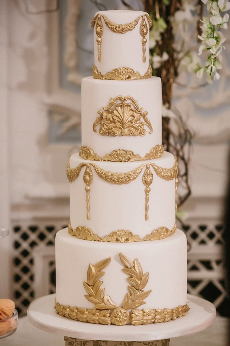 White And Gold Wedding Cake  Top 10 Wedding Cake Trends for 2016