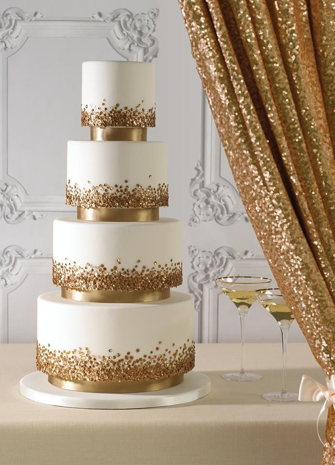 White And Gold Wedding Cake  wedding cakes with gold accents spark and shine your day