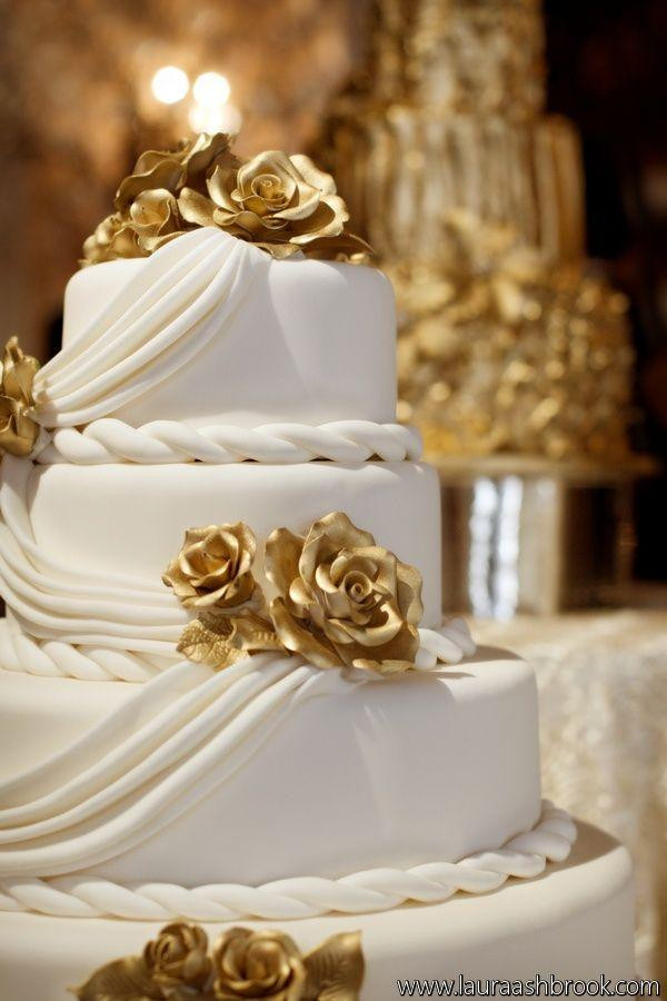 White And Gold Wedding Cake  White And Gold White And Gold Wedding Cake