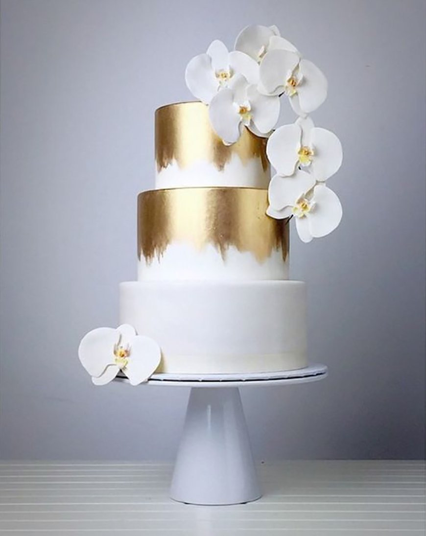 White And Gold Wedding Cakes  Gold Wedding Cakes Wedding Ideas By Colour