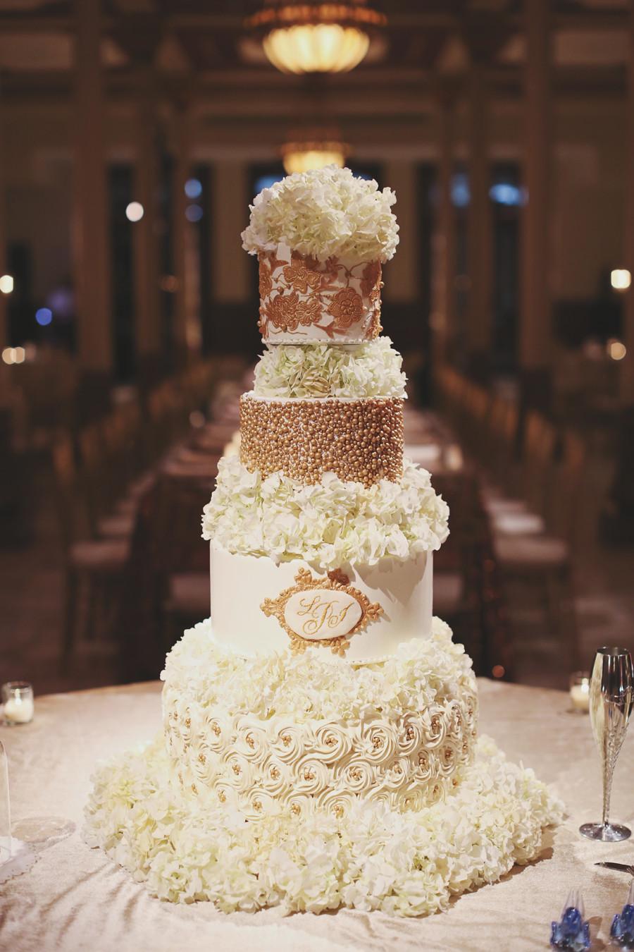 White And Gold Wedding Cakes  Elegant Gold and White Wedding Cake Elizabeth Anne