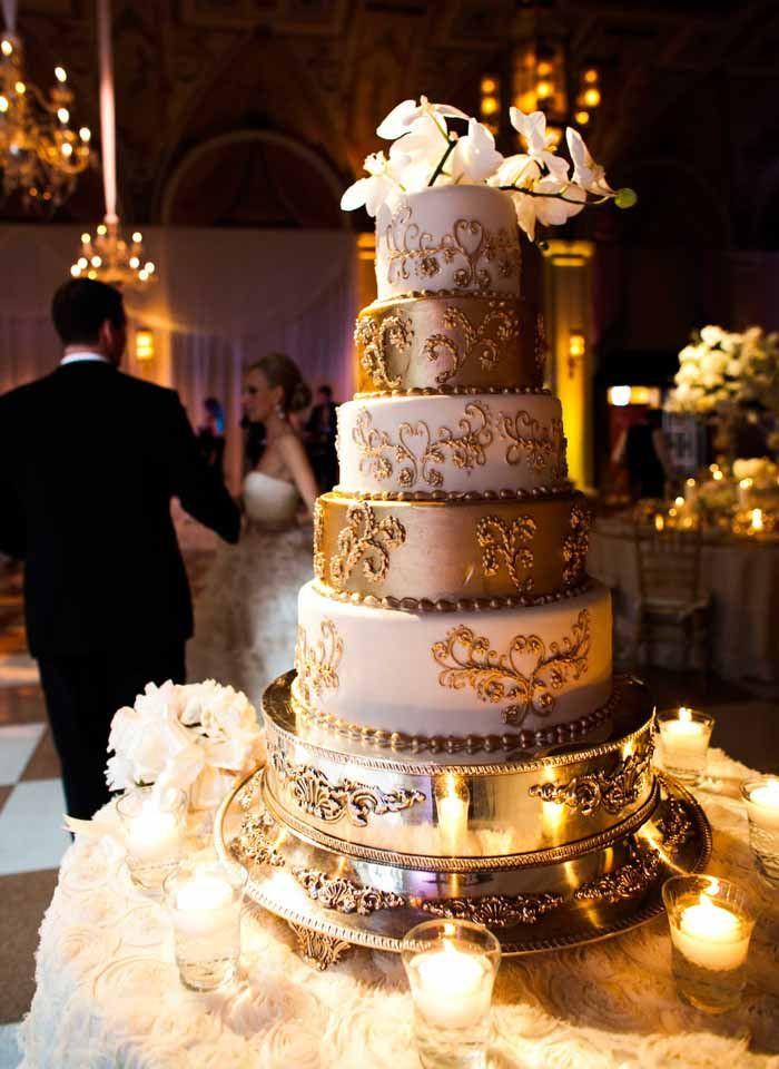 White And Gold Wedding Cakes  Gold Wedding Cake