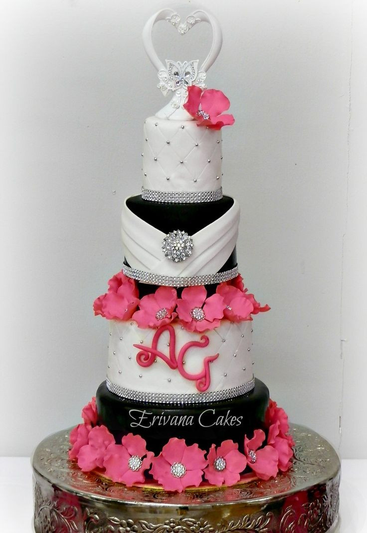 White And Pink Wedding Cakes  17 Best images about Cake 3 Black White with Splash of