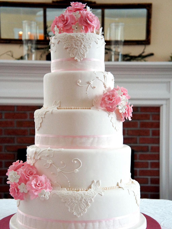 White And Pink Wedding Cakes  Wedding Cakes Rhode Island Pink Flower Wedding Cake Cake