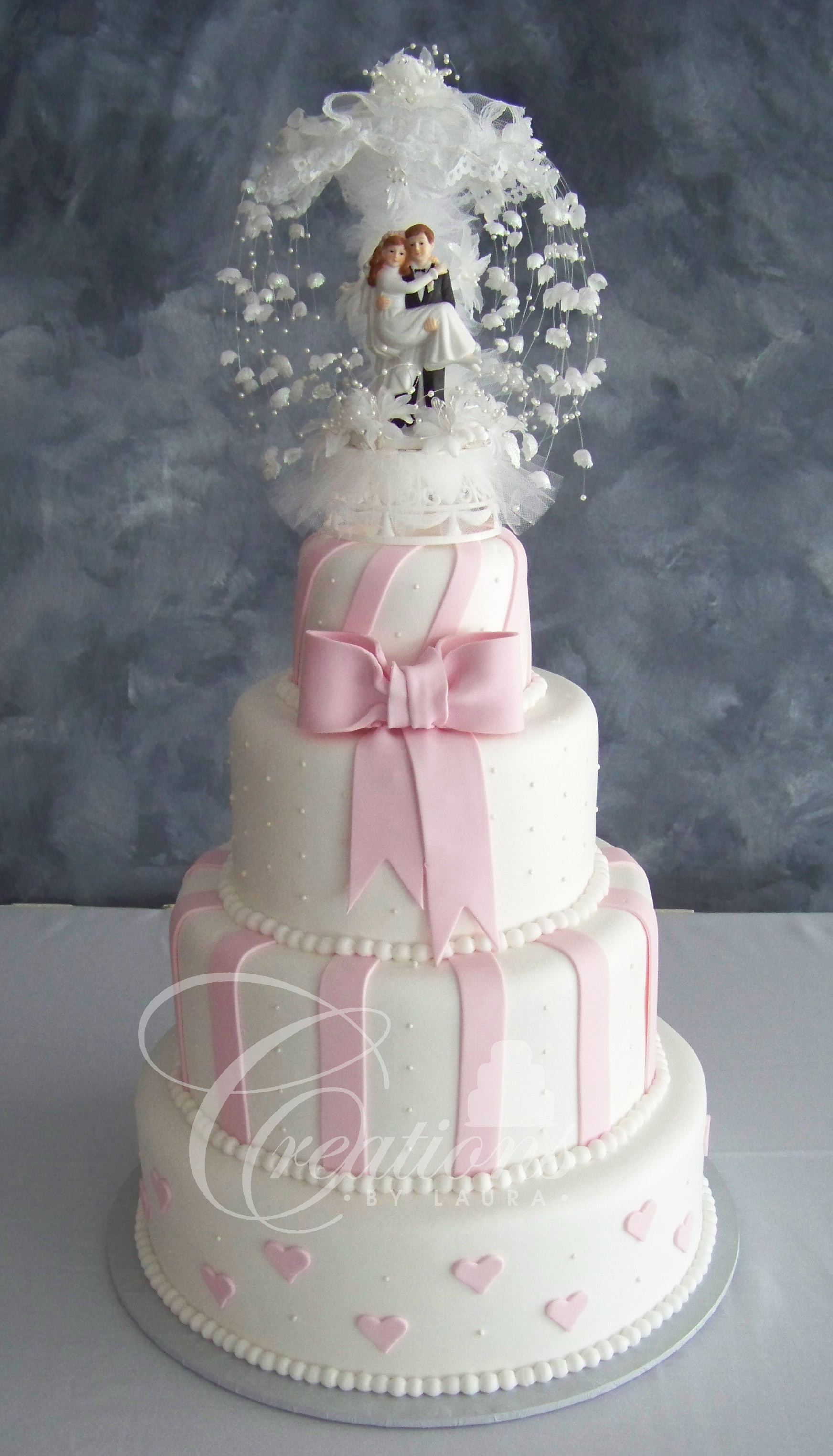 White And Pink Wedding Cakes  Pink and White Wedding Cake