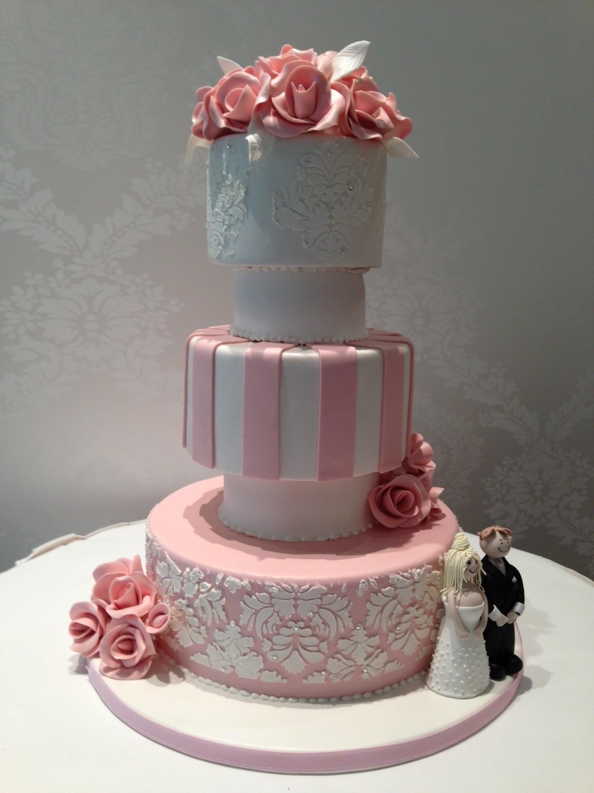 White And Pink Wedding Cakes  wedding cake
