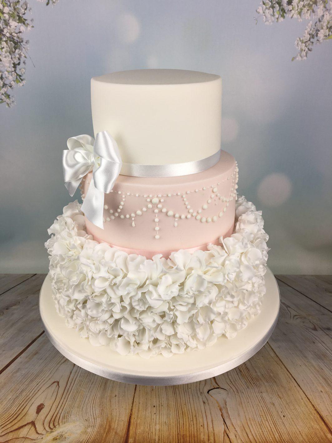 White And Pink Wedding Cakes  Sugar ruffles wedding cake Archives Mel s Amazing Cakes
