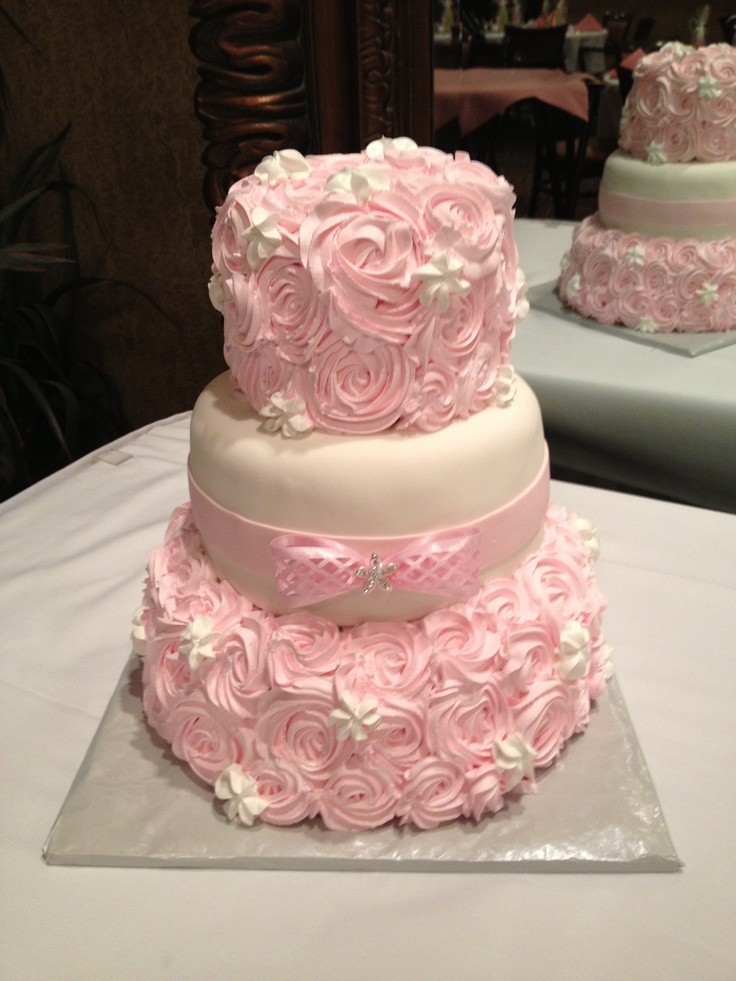 White And Pink Wedding Cakes  Three tiered pink and white rosette wedding cake by