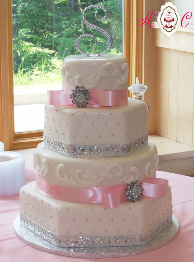 White And Pink Wedding Cakes  wedding cakes pink and white and silver