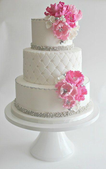 White And Pink Wedding Cakes  Team Wedding Blog Wedding Cakes
