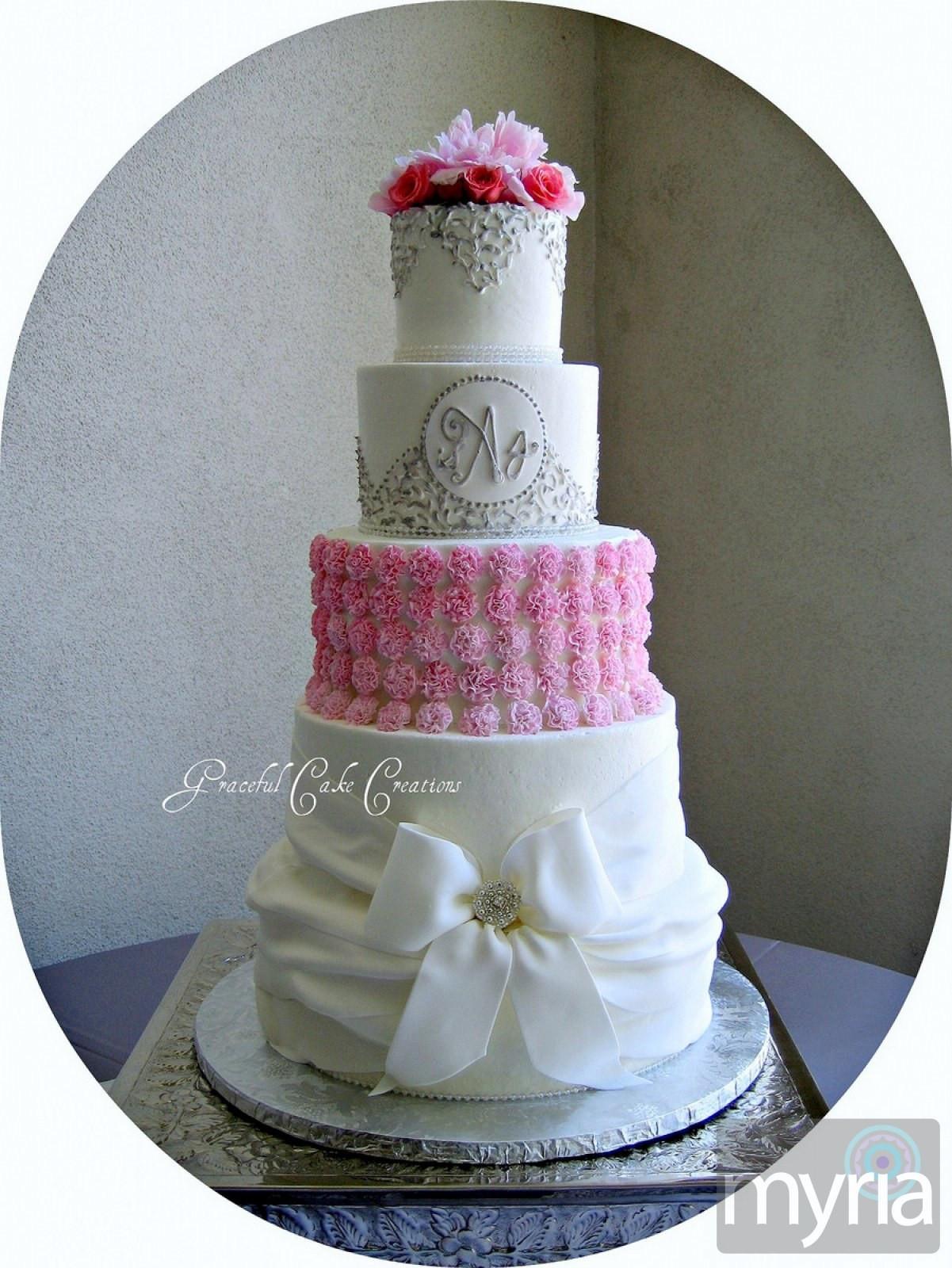 White And Pink Wedding Cakes  Elegant White Pink and Silver Wedding Cake Myria