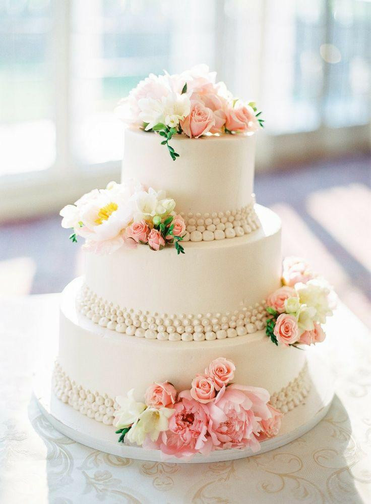White And Pink Wedding Cakes  Wedding Cake With Pink And White Flowers Weddbook