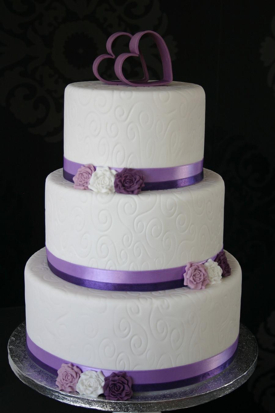 White And Purple Wedding Cake  White Purple Wedding Cake CakeCentral