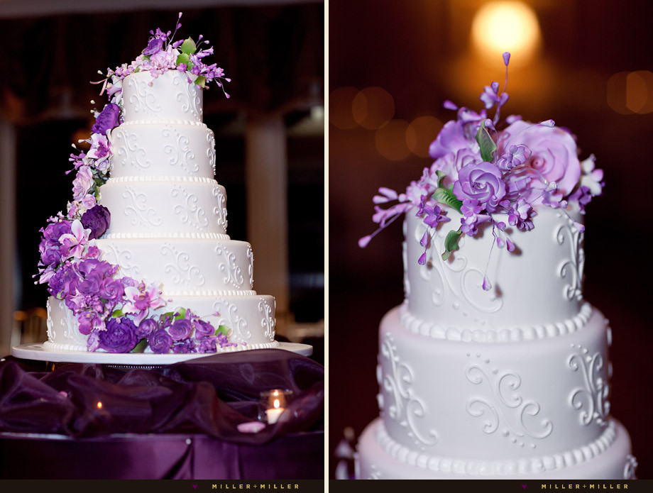 White And Purple Wedding Cake  17 Ways to Make Radiant Orchid Happen in Your Wedding