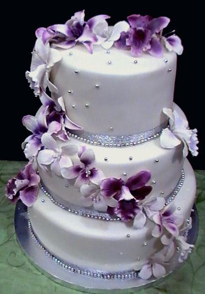 White And Purple Wedding Cake  Bench s blog Tiara Silk Wedding Shower Rehearsal Dinner