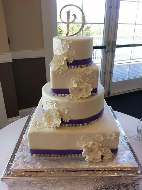 White And Purple Wedding Cake  Four Tiered Wedding Cakes