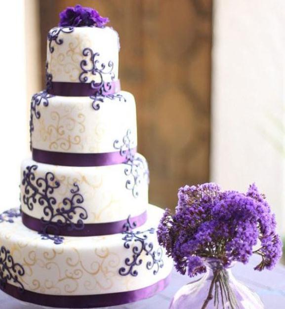 White And Purple Wedding Cake  Purple Themes Archives Weddings Romantique