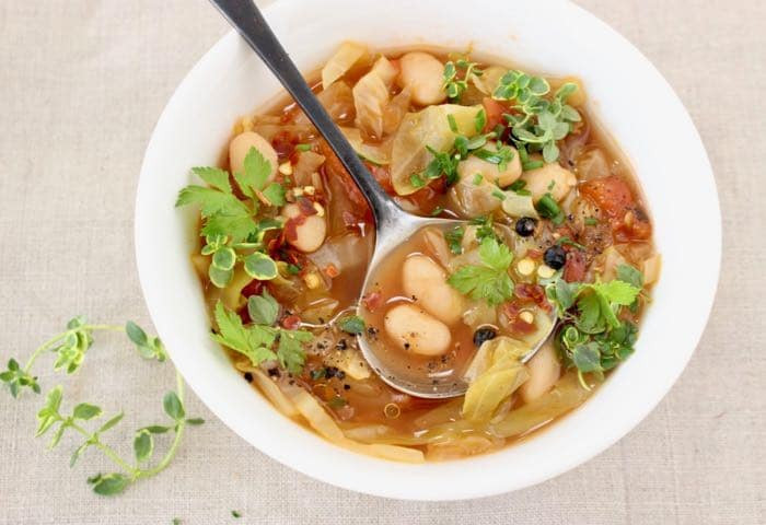 White Bean Recipes Healthy  Healthy Vegan Cabbage and White Bean Soup Recipe Veggie