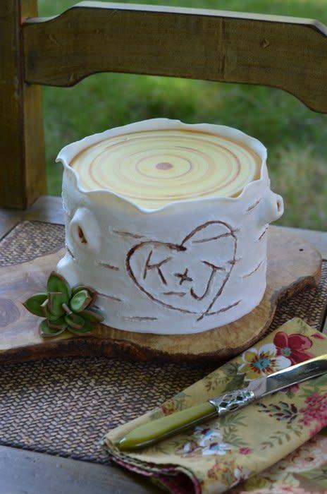 White Birch Wedding Cake  Rustic White Birch Cake Cake by Elisabeth Palatiello