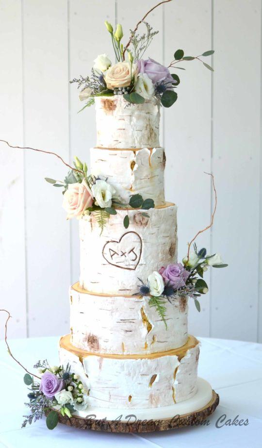 White Birch Wedding Cake  Towering White Birch Wedding Cake cake by Elisabeth