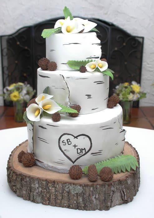 White Birch Wedding Cake  White Modeling Chocolate wrapped birch wedding cake Cake