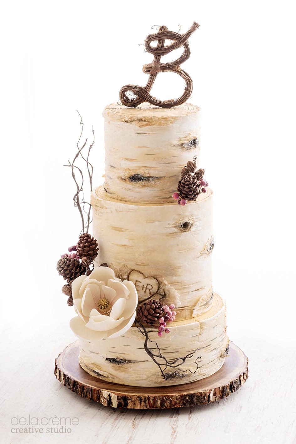 White Birch Wedding Cake  Birch Tree Wedding Cake — De la Crème Creative Studio