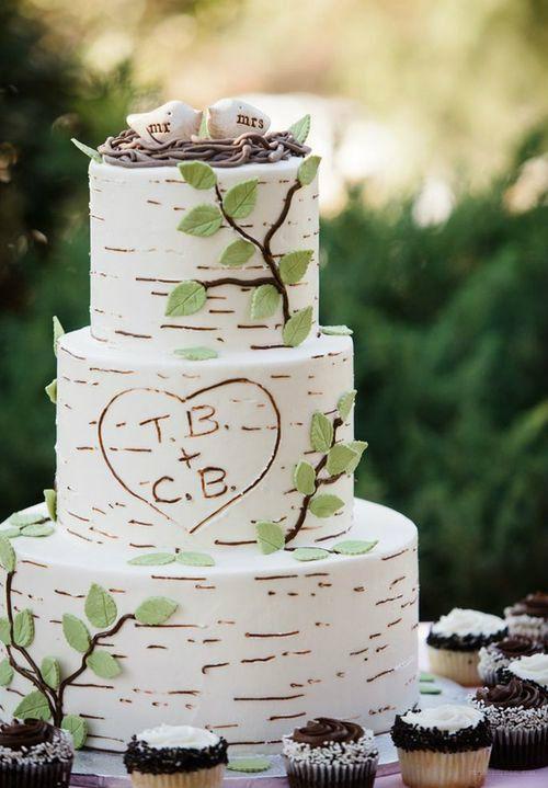 White Birch Wedding Cake  30 Rustic Birch Tree Wedding Ideas