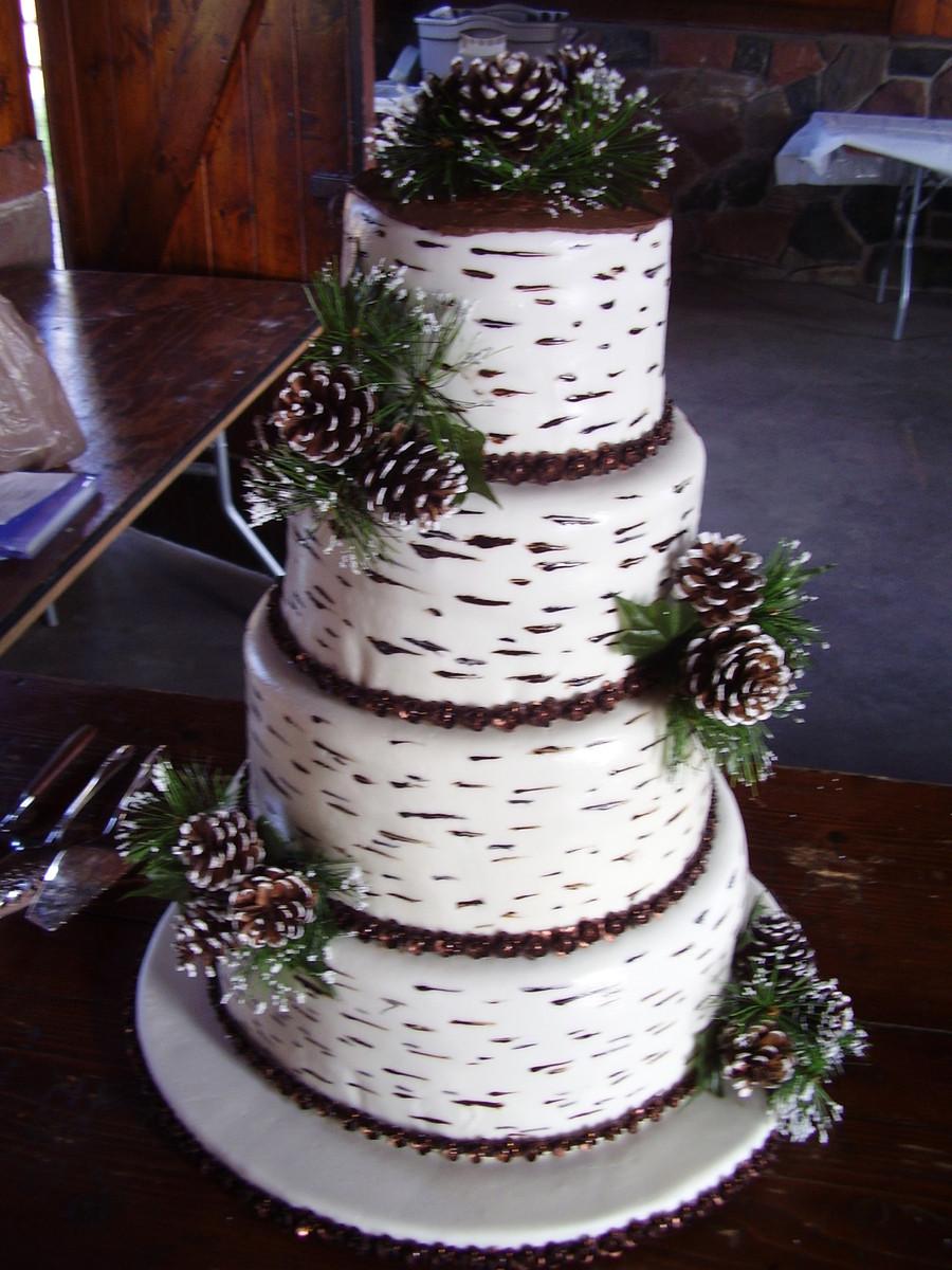 White Birch Wedding Cake  Birch Bark Wedding Cake CakeCentral