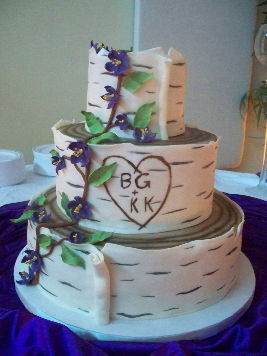 White Birch Wedding Cake  Birch Tree Wedding Cake CakeCentral