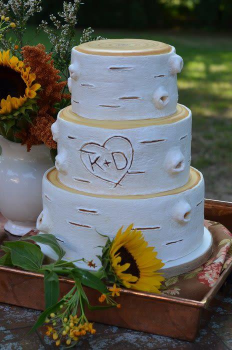 White Birch Wedding Cake  Rustic white birch wedding cake Cake by Elisabeth