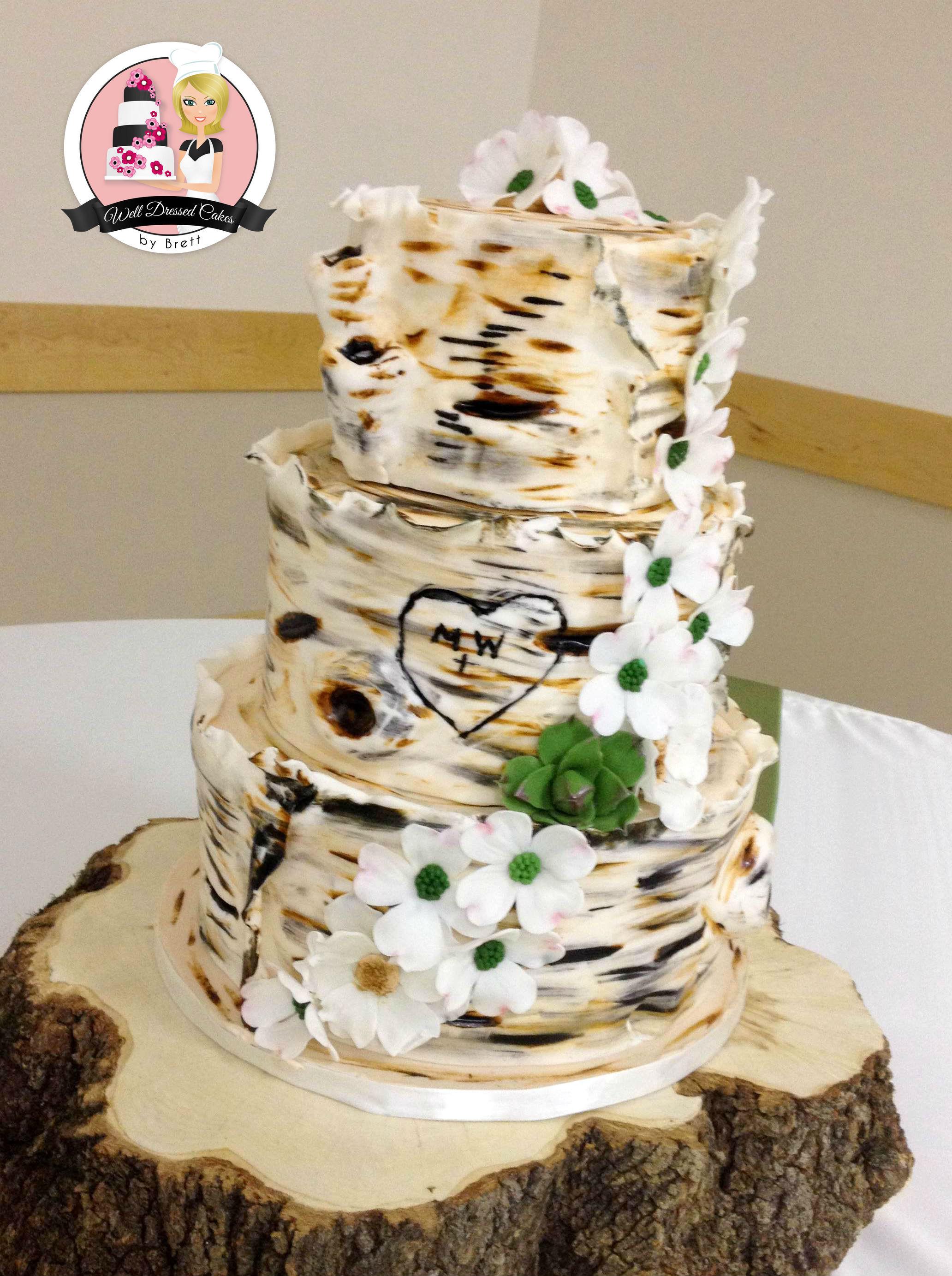White Birch Wedding Cake  Well Dressed Cakes by Brett – Wedding Cakes
