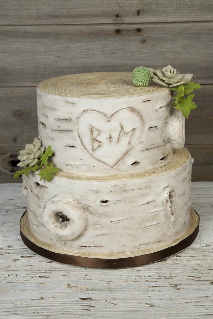 White Birch Wedding Cake  W9280 rustic birch bark succulent wedding cake