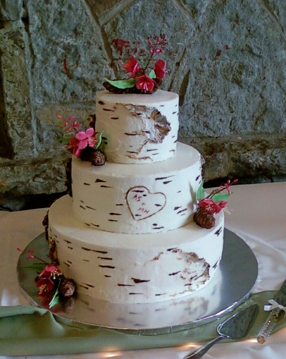 White Birch Wedding Cake  Top Birch Bark Cakes CakeCentral
