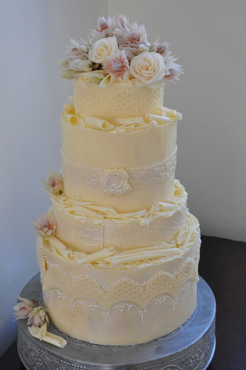 White Chocolate Wedding Cake  Rozanne s Cakes White chocolate wedding cake Cape Town