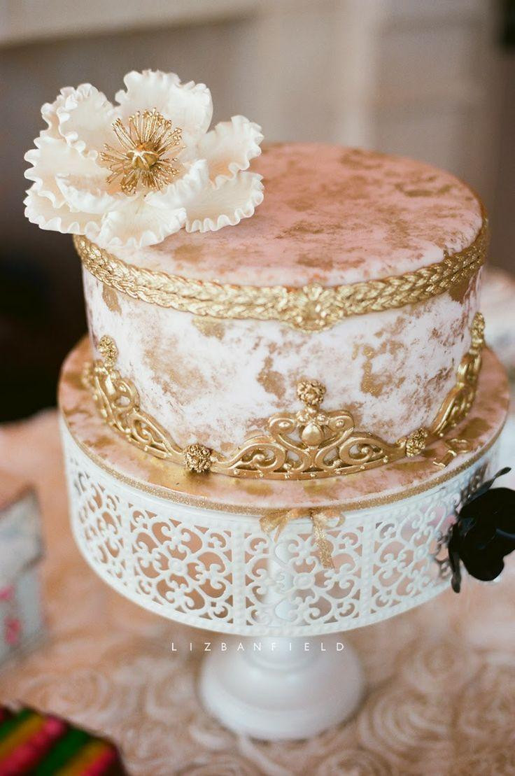 White Gold Wedding Cakes  White And Gold White And Gold Wedding Cake