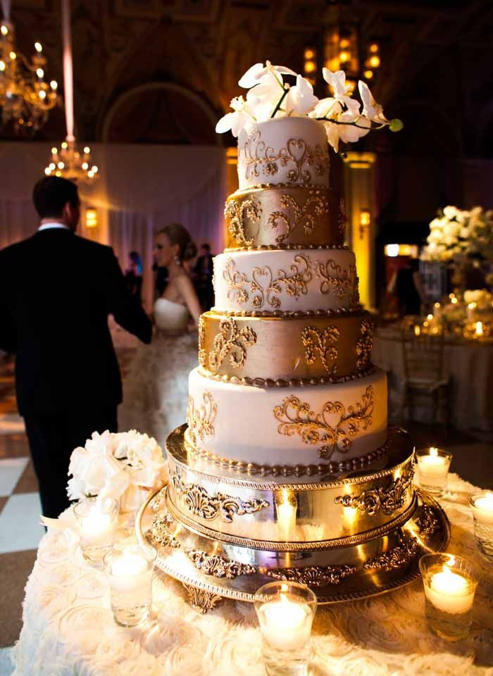 White Gold Wedding Cakes  Gold Wedding Cake