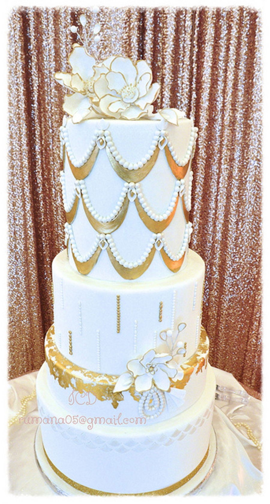 White Gold Wedding Cakes  White And Gold Wedding Cake CakeCentral