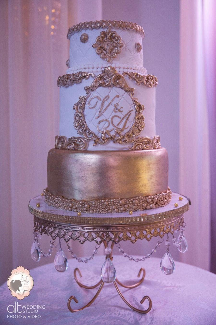 White Gold Wedding Cakes  Baroque Wedding Cake White & Gold CakeCentral