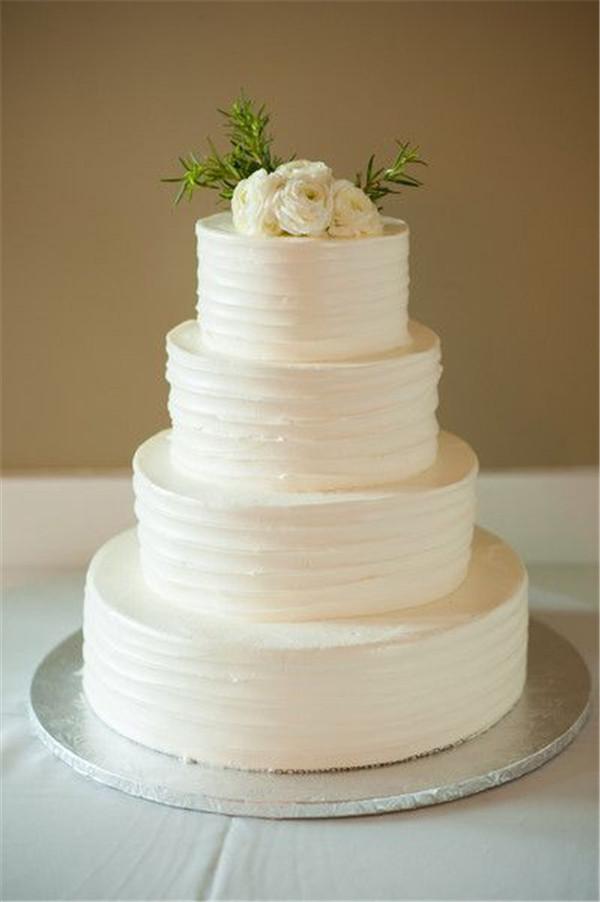 White On White Wedding Cake  40 Elegant and Simple White Wedding Cakes Ideas