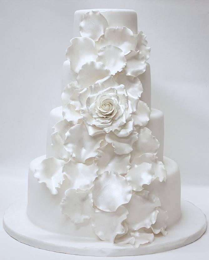 White On White Wedding Cake  All White Wedding Cakes
