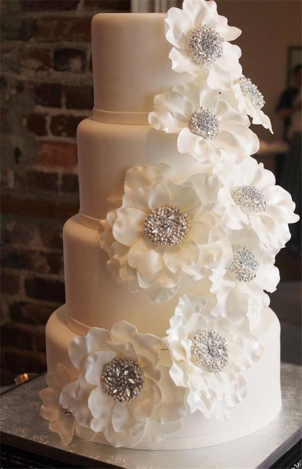 White Wedding Cake  40 Elegant and Simple White Wedding Cakes Ideas