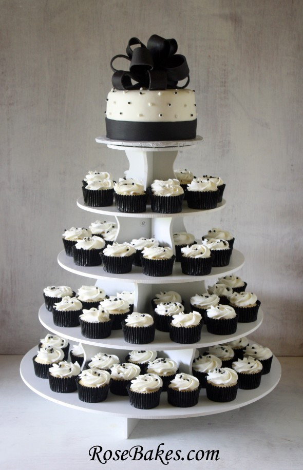White Wedding Cake Cupcakes  Black & White Wedding Cake and Cupcake Tower